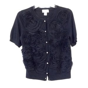 LOFT Black Lace Floral  Design Cardigan Wool M